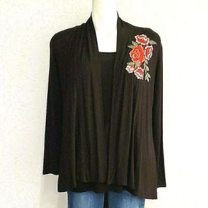 *NWT* Black Cardigan with Embroidered Flower